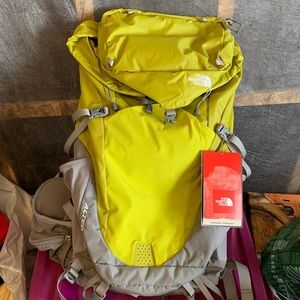 North Face backpack NEW with tags lime green gray